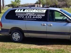 EBA sign painted on minivan